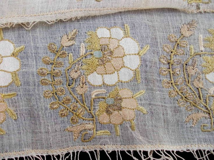 Interesting display of textured embroidery on sheer fabric..