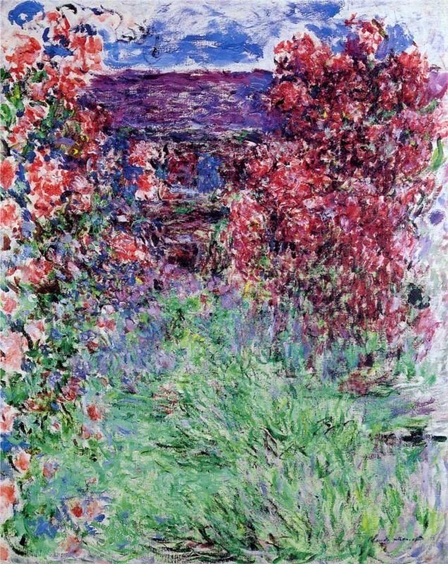The house among the roses 1925 claude monet claude for Monet home