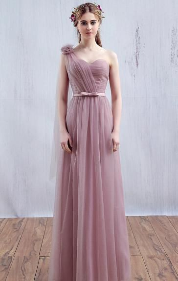 Cute Tulle Dusty Pink Bridesmaid Dress BNNED0010-Bridesmaid UK