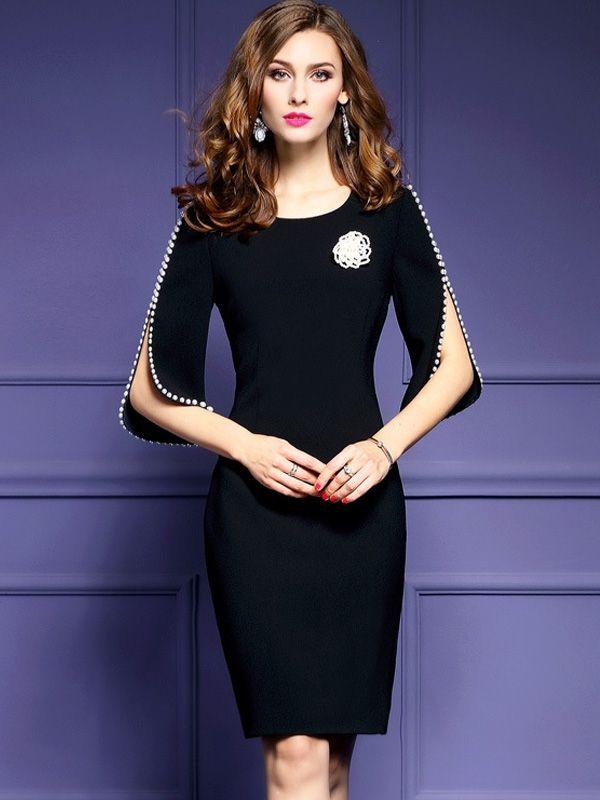 e01b7d2e6f86 Solid Color O-Neck Beadings Half Sleeves Brief Skinny Dresses #Dress  #BlackDresses #Jollyhers