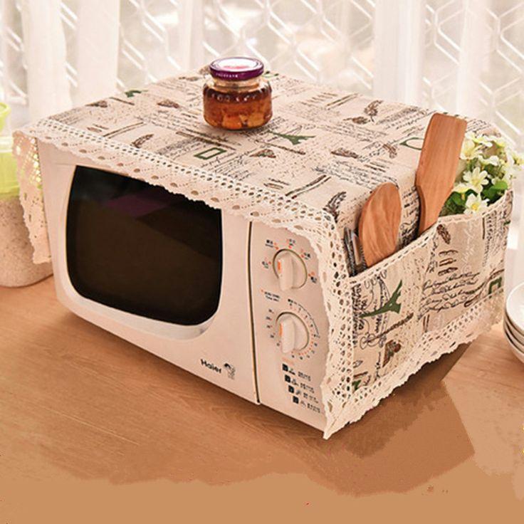 Романтический стиль Лен хлопок микроволновая печь крышка с 2 боковых чехол для хранения стерео Организация сумки для кухонных принадлежностей купить на AliExpress