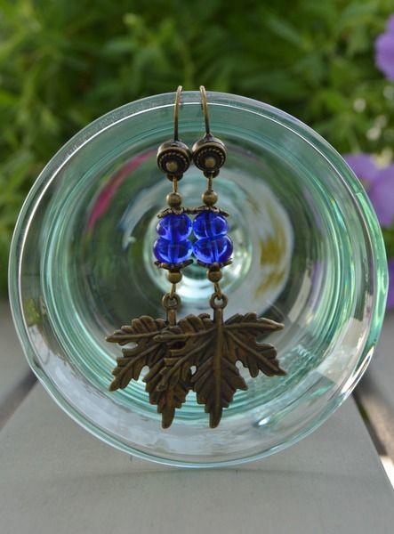 Pendientes colgantes - Pendientes largos cristal azul-hojas de arce boho - hecho a mano por Doce-Cuentas en DaWanda