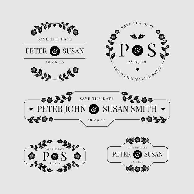 Download Set Of Floral Wedding Logos For Free In 2020 Wedding Logos Wedding Florist Logo Wedding Logo Monogram