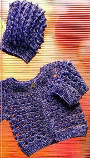 Gilet et bonnet violet et leurs grilles gratuites ! - Modèles pour Bébé au Crochet