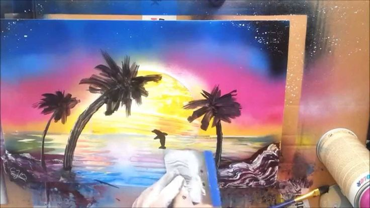 Spray paint Art, Dolphin Jumping In Sunset
