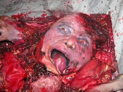 halloween prop haunted attraction film gross gory bloody cooler ice box head that would scare them looking for a cool drink at the party - Gory Halloween Decorations