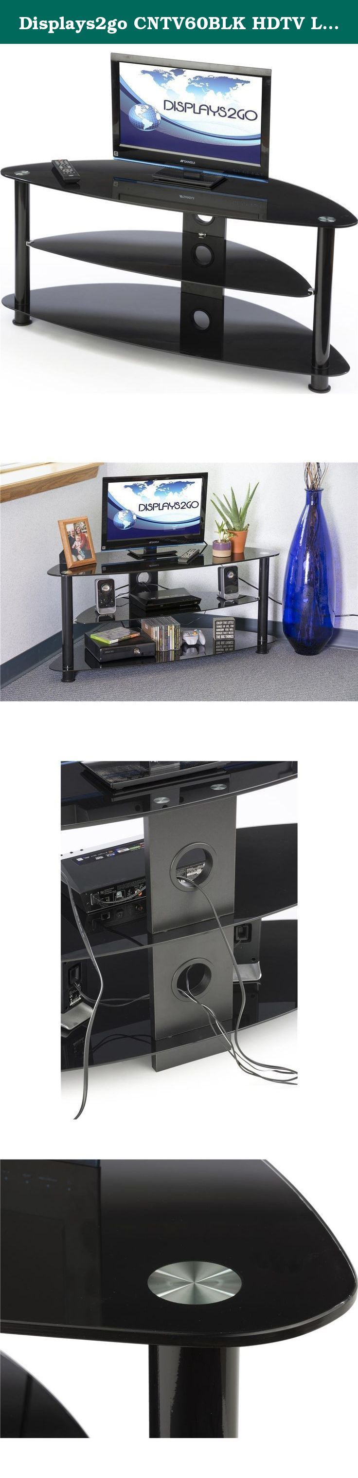 """Displays2go CNTV60BLK HDTV Living Room Entertainment Center, Up to 60-Inch TVs, Corner Unit, Tempered Glass Shelves (Black). This HDTV glass entertainment center holds TVs up to 60"""" in size. This TV stand features 3 tempered glass shelves, with the top shelf 8mm thick and a maximum weight limit of 154 lbs. This angled entertainment center is perfect for use as a corner unit. The bottom 2 shelves are 5mm thick. The entire unit secures together via heavy duty plastic poles and standoffs…"""