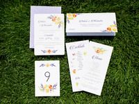wedding invite, menu, placement card, table number