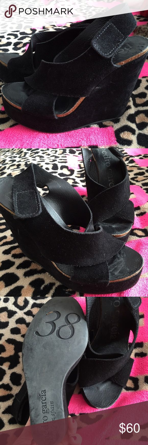 Pedro Garcia Suede Wedges Pedro Garcia black suede wedges used but these shoes will last forever. Size 38 (8) Pedro Garcia Shoes Wedges