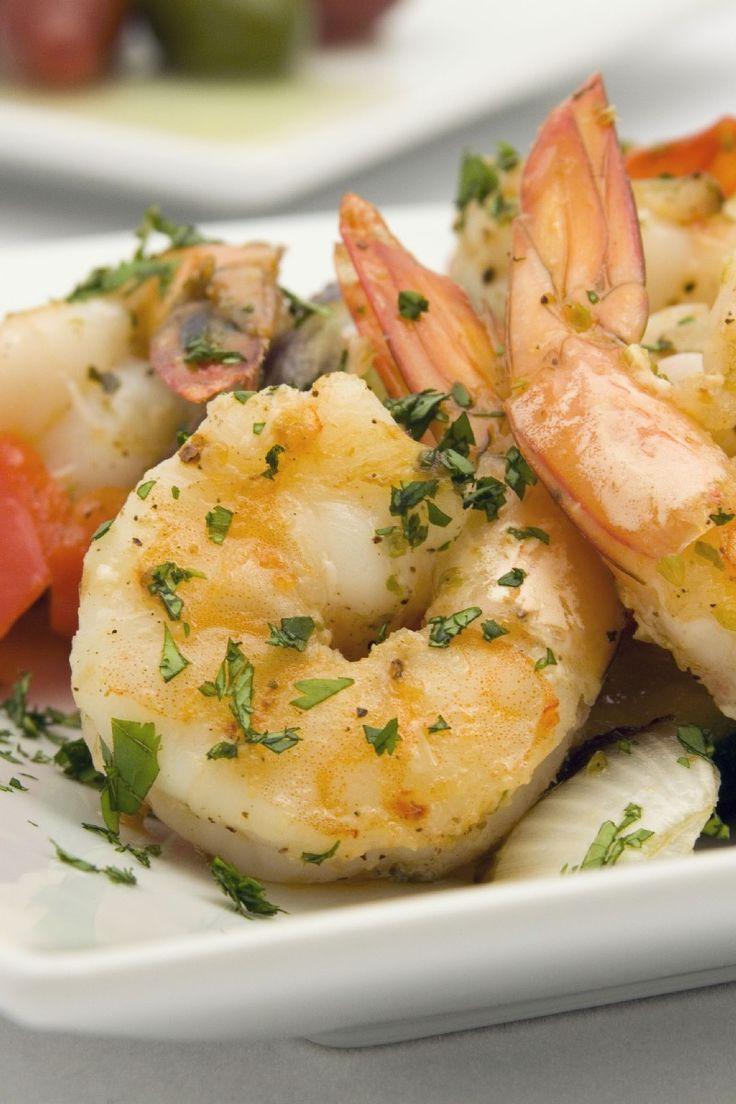 Recipe including course(s): Entrée; and ingredients: black pepper, fresh parsley, lemon juice, olive oil, salt, seasoning , shrimp