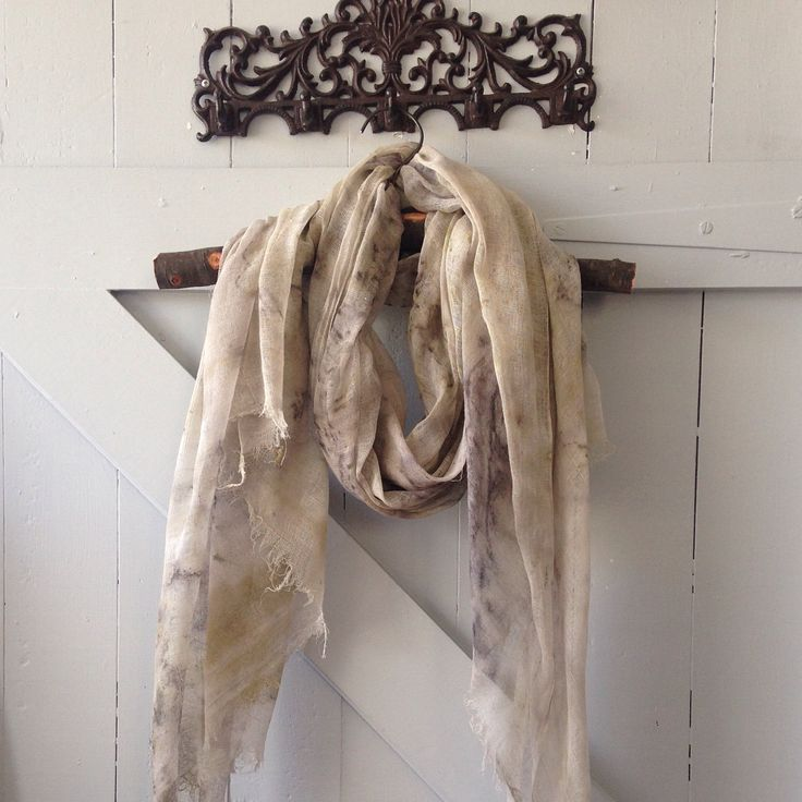 Soft and subtle. Raw-edged cotton muslin scarf, lightly eco dyed with various leaves (and nails); 2nd use Tas. blackwood dye pot. Scroll to see variations. #subtle #soft #earthy #cotton #muslin #rustic #accessory #outfit #wearable #scarf #shawl #ecofashion #sustainablefashion #ecochic #natural #dye #ecodye #tasmania