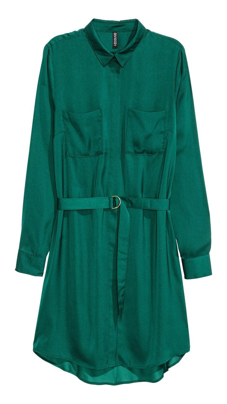 Satin shirt dress - emerald green