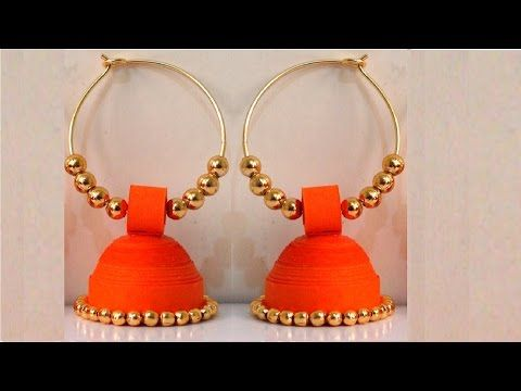 How to make Paper Earrings Jhumka | Paper Quilling Tutorial - YouTube