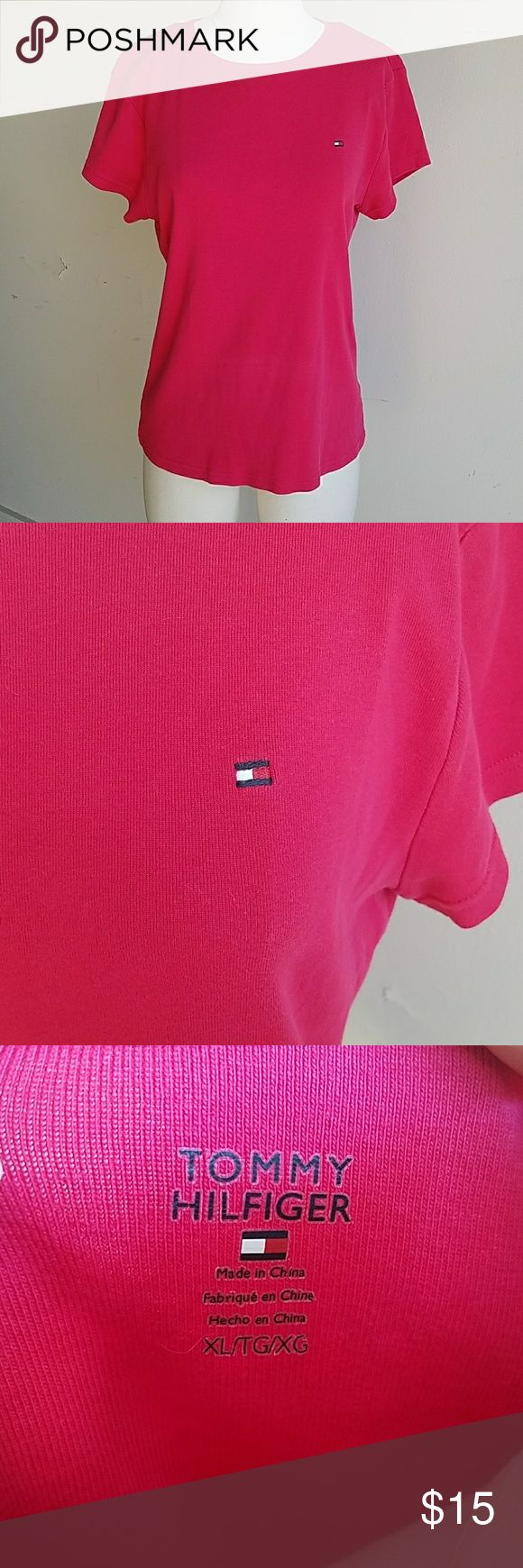 Bright PINK Tommy Hilfiger tshirt Bright color for summer great quality material and brand   14 inches from armpit to bottom of the top   17 inches from armpit to armpit Tommy Hilfiger Tops Tees - Short Sleeve