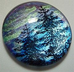 Faux Dichroic Glass Mimic Tutorial aurora borealis using rubber stamps, metallic lumiere acrylic paint