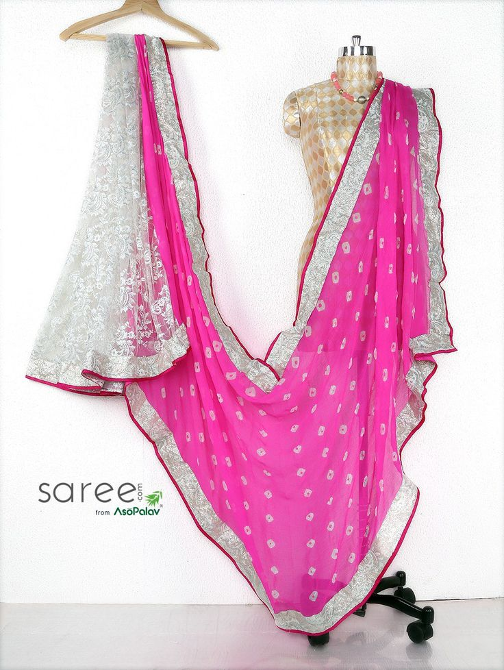 Pink and White Chiffon Saree with Patch Work