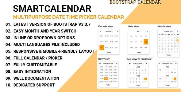 awesome SmartCalendar - Multipurpose Date Time Picker Calendar (Calendars)