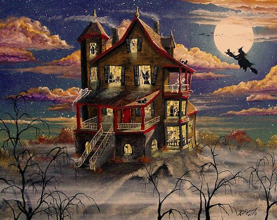 Folk Art HALLOWEEN Haunted House PRINT Hill Top by sunbyrum, $10.99