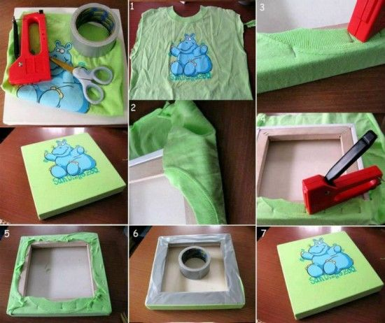 Keep your kids outgrown T-shirt and turn it into this cute wall art .That will be a nice gift for them ! #diy #craft #homedecor