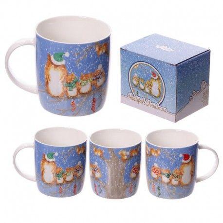 Mug en porcelaine - Hiboux de Noël