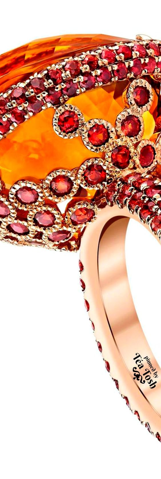 ❇Téa Tosh❇ Mandarin Orange Citrine and Orange Sapphires, set in Gold Ring