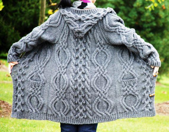 Hand Knit Women Chunky Cable Aran Irish Fisherman Sweater Coat via Etsy.