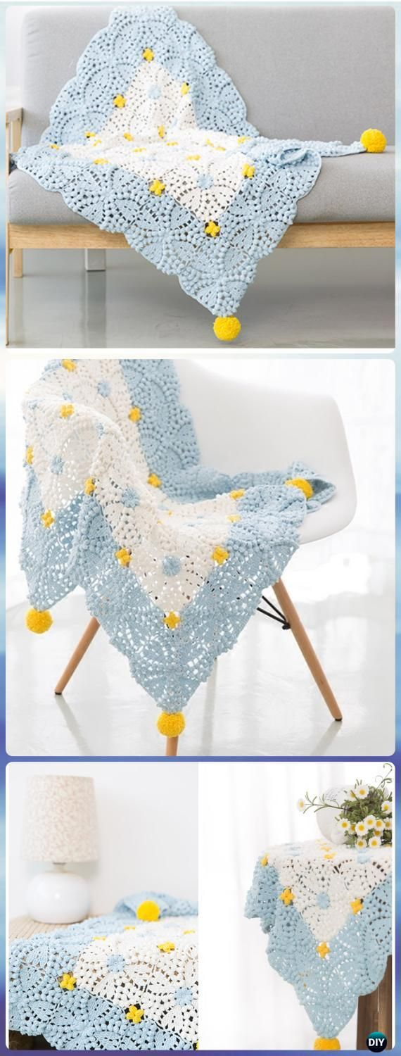 Diy crochet 6 petal puff stitch flower blanket - Crochet Pearl Flower Popcorn Square Motif Free Patterns