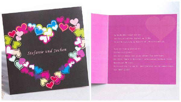 Farbenreich Herzen Schokoladenbraun Einladungskarten Hochzeit p OPB071 Rainbow Hochzeitsideen | Bunte und Trendige Hochzeit 2014