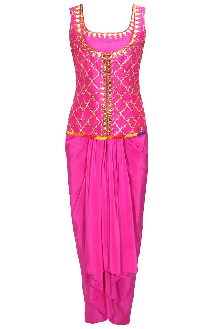 Fuchsia gota embroidered jacket with matching choli and lungi skirt available only at Pernia's Pop-Up Shop.
