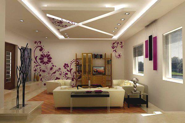 idées de déco plafond moderne suspendu avec petites lampes