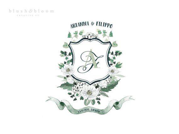 Bespoke Watercolor Crest Wedding Family Crest Heraldry Crest