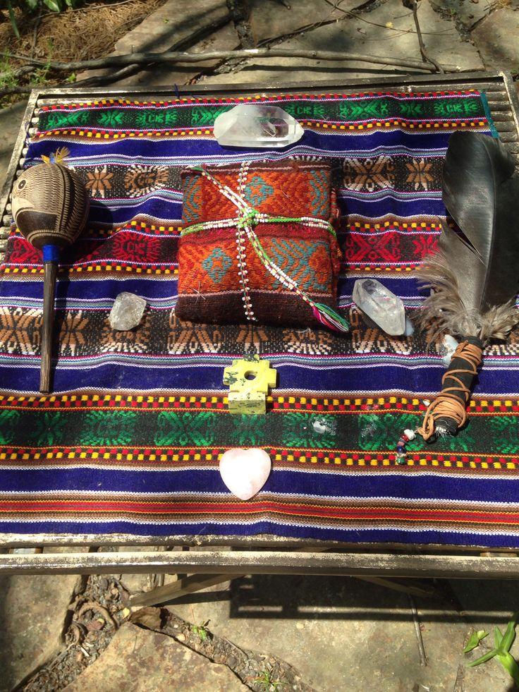 A shaman's altar #mesa #medicinebundle #chakana
