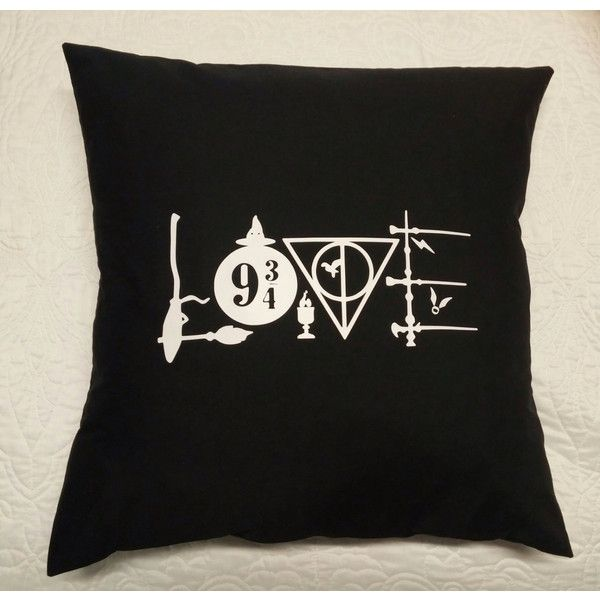 Harry Potter-Love Harry Potter Pillow Cover-Throw Pillow... ($19) ❤ liked on Polyvore featuring home, home decor, throw pillows, white accent pillows, black throw pillows, white toss pillows, quote throw pillows and black white accent pillows