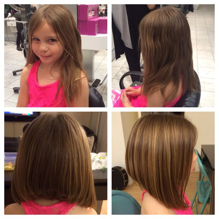 Little girls hair cuts. Long isn't always easy to care for although very pretty... This is a great way to have less tangles in the back but still long layers around her sweet face! Long Bob/ stacked bob.