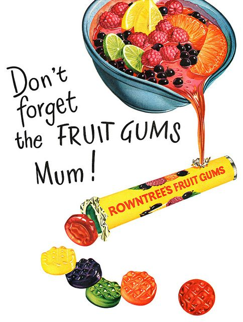 Don't forget the fruit gums, mum! #vintage #1950s #food #candy #ads