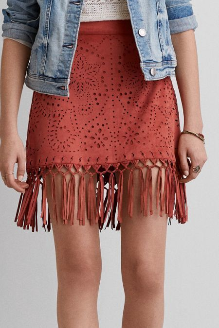 American Eagle Outfitters AEO Faux Suede Fringe Skirt