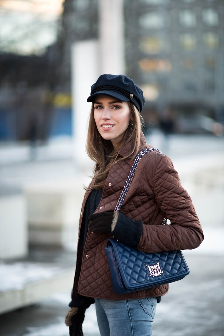 fisherman cap quilted jacket outfit