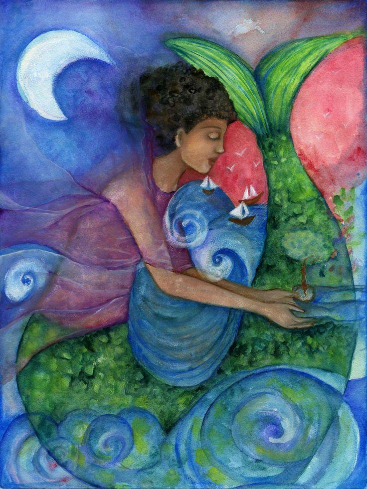 Mermaid Art- Yemaja - Goddess of Compassion - Goddess wall art - Mermaid wall art - Mermaid print - Boho art - wall art - African Goddess by OlivosARTstudio on Etsy