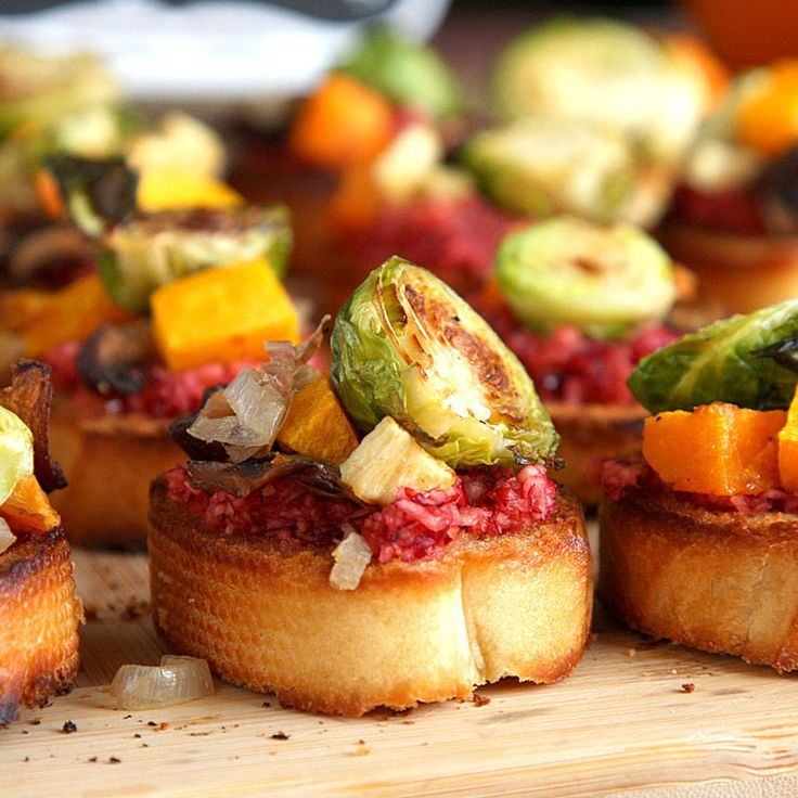 Roasted Root Vegetable Crostini with Cranberry Relish recipe - On Sugar Mountain