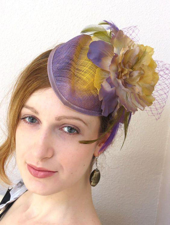Lavender Fascinator Heather yellow fascinator by FascinatorsFirst