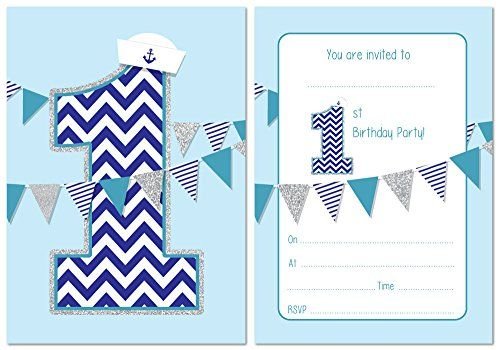 From 4.95 First Birthday Party Invitations - Boys Nautical Theme With Bunting - 24 X A6 Postcard Size Cards (with Envelopes)