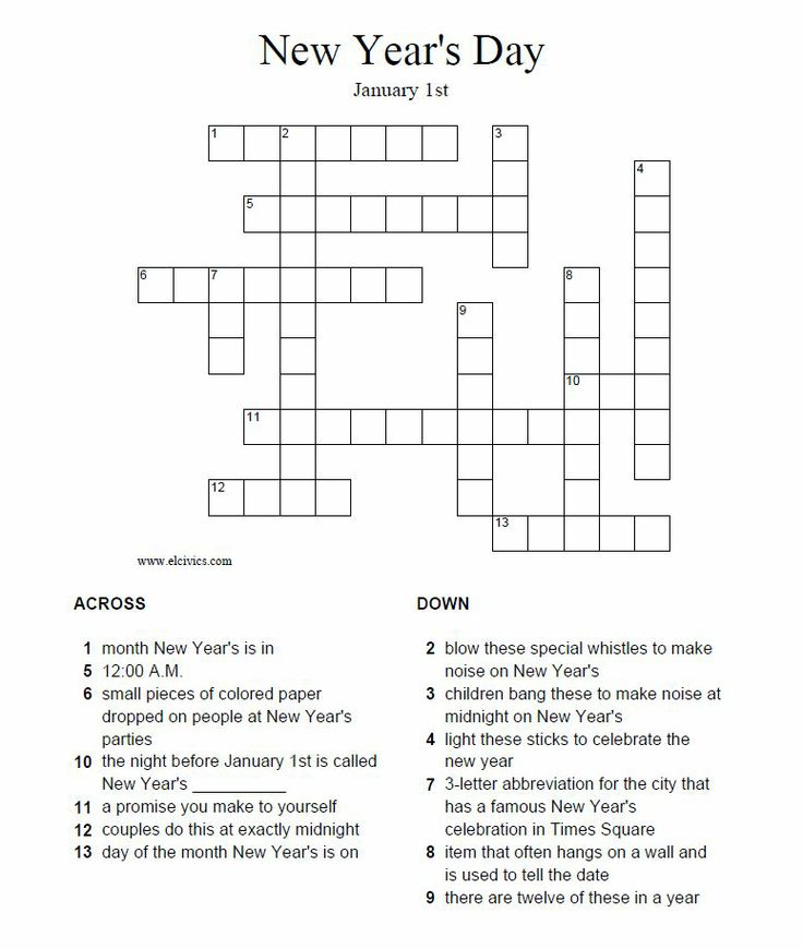New Year S Crossword Puzzle Answers At Http Www Elcivics