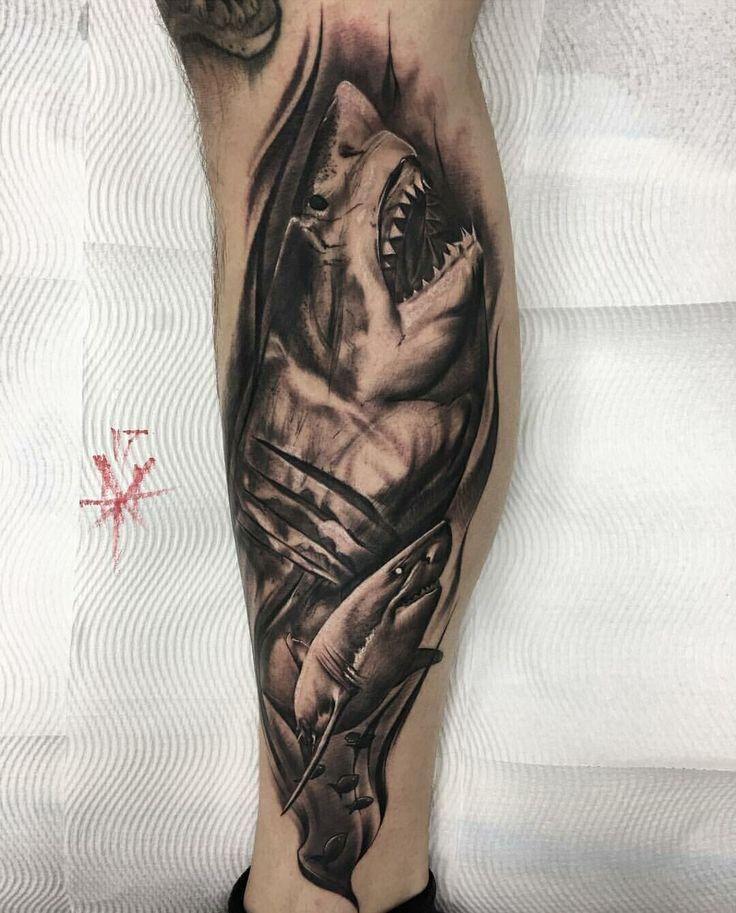 Realistic Shark Tattoo by Mistertarantula in Voodoo ink( St Kilda Melbourne Australia)
