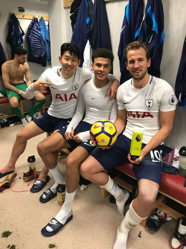 Kane, Son and Dele in dressing room at Burnley after 3-0 away win with Kane hat trick. 23/12/17