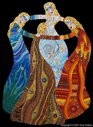 A high priestess in mosaic art - Irinia Charny.  The Dance (Earth, Water, Fire, Air)  2006