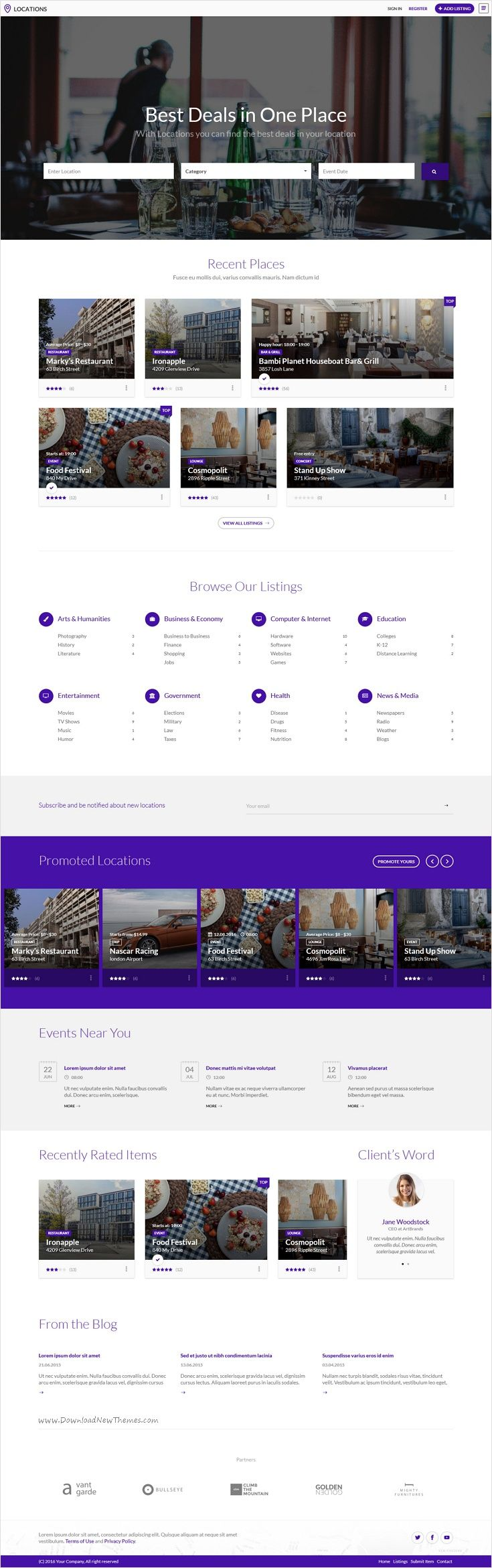 Locations multipurpose directory template html templatescar rentalweb