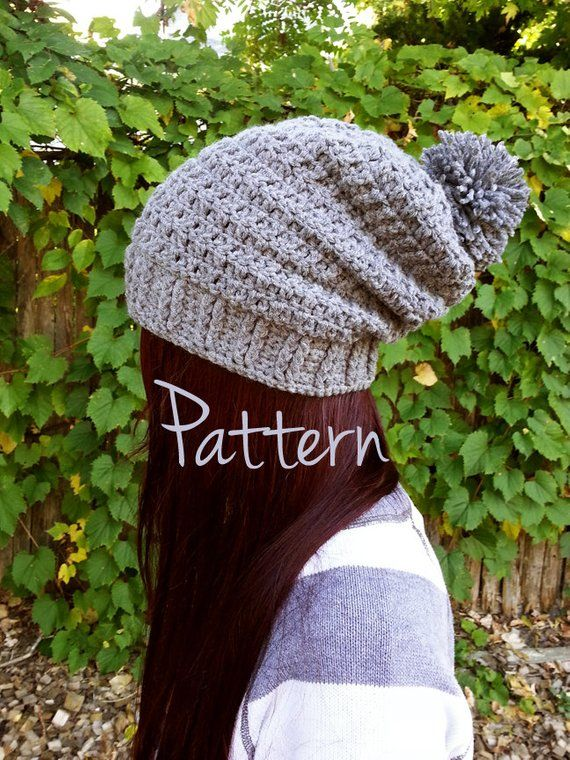 Crochet Hat Pattern Slouchy Beanie Pom Pom Winter Fall Autumn Hat