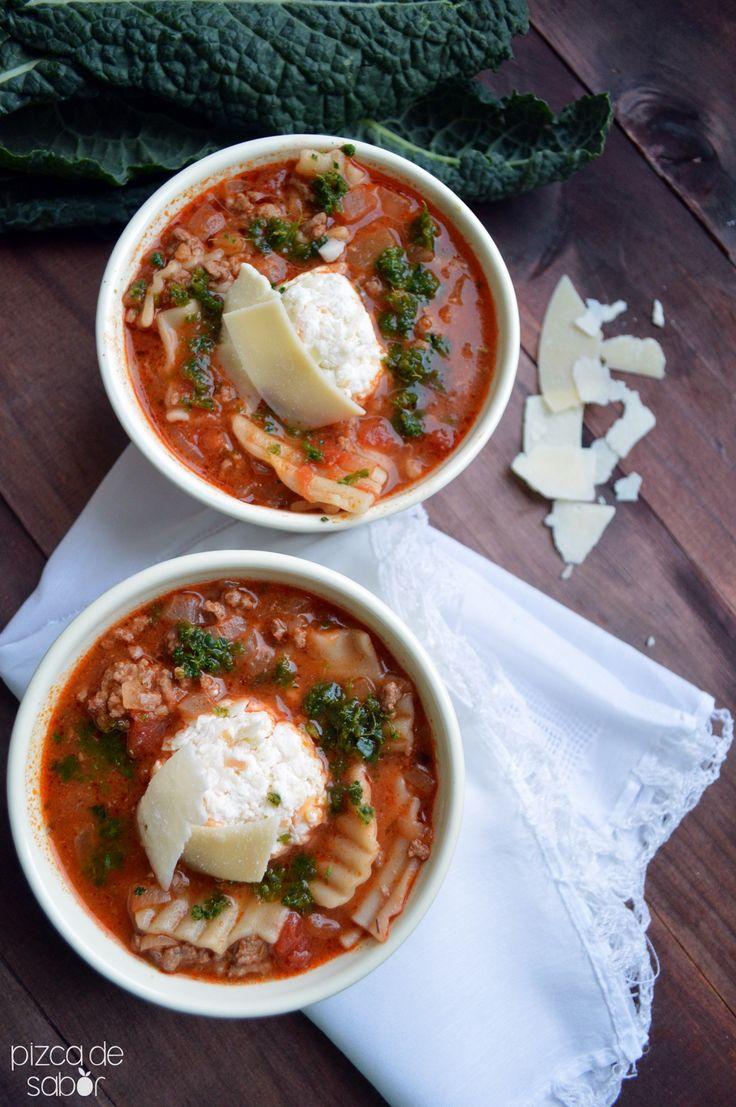 Sopa de lasaña  www.pizcadesabor.com