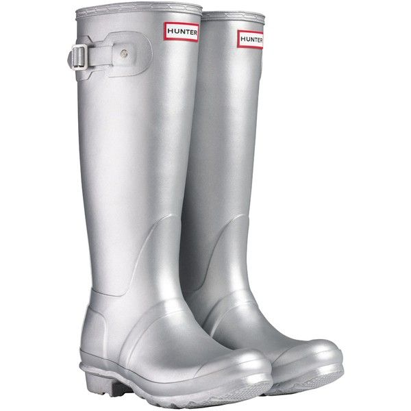 Hunter Women's Original Tall Wellington Boots ($77) ❤ liked on Polyvore featuring shoes, boots, flats, rainboots, metallic silver, hunter flats, wellington rubber boots, tall boots, low boots and rain boots