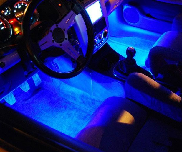 Give your whip a tacky futuristic appearance with the car interior lighting kit. The kit includes four specially designed ultra bright LEDs that light up to give your car's interior an out of this world neon blue glow that is bound to turn heads wherever you drive.